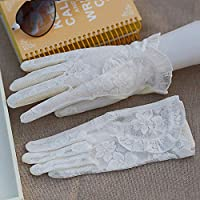 Shoutao - Guantes de protección solar para mujer, color Borde de hoja de loto (pantalla táctil blanca), tamaño talla única