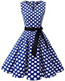 Bridesmay Damen Vintage 1950er Rockabilly Ärmellos Retro Cocktailkleid Partykleid Royal Blue White Dot 2XL