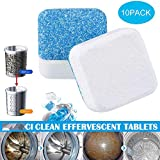 Hamkaw Effervescent Cleaning Washing Machine Cleaner, Deep Cleaning Wash Machine Entkalker Blockform Front Loader Funktionale Decontamination High Efficiency Remover Deo for Home, 10 Stück