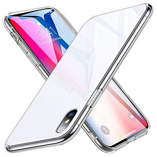 ESR Hülle für iPhone X - Hartglas Handyhülle mit Weichem TPU Rahmen - Handy Schutzhülle für iPhone X (5,8 Zoll) - Weiß Handy-rahmen