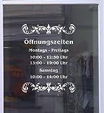 Öffnungszeiten Deluxe Schaufensterbeschriftung Aufkleber Werbung Laden Geschäft Weiß Breite 20 cm