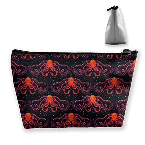 Travel Cosmetic Bag Red Octopus Tragbare Trapez Make-up Tasche Mäppchen Clutch Bag -