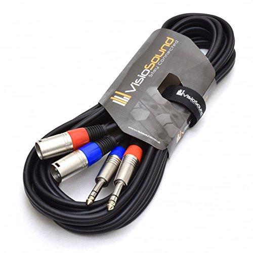 Twin Instrumentenkabel 2 x XLR Männlich auf 2 x 6,3mm Stereo Klinke/Symmetrisches Audio Signalkabel 5m