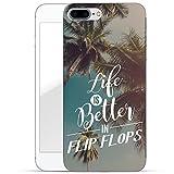 Finoo iPhone 8 Plus Handy-Tasche Schutzhülle | ultra leichte transparente Handyhülle in harter Ausführung | kratzfeste stylische Hard Schale mit Motiv Cover Case | Life is better in Flipflops