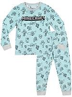 Minecraft Pijamas de Manga Larga para niñas Steve Azul 11-12 Años