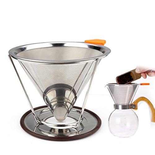 10 Cup Drip Coffee Maker (A-szcxtop 304Edelstahl Double Mesh Filter wiederverwendbar über Kaffeefilter Kaffee Gießen Tropfer mit separatem Ständer für 1–4Tassen 125ML with bracket)