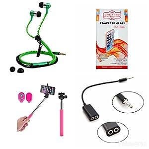 KONARRK 4 in 1 Combo of Selfie Stick Pink, Zipper Earphones Green, Handsfree Splitter Black and Tempered Glass for LG NEXUS-4