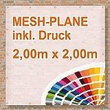 Baugerüst | Mesh Banner / Werbeplane / Werbebanner | 2m x 2m | inklusive Saum und Ösen | brillanter Druck - besonders stabil - wetterfest | 270g/m² | luftdurchlässig | einseitig mit Ihrem Motiv bedruckt