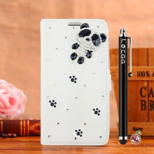Locaa(TM) Pour Apple IPhone 5 IPhone5 5G 3D Bling Case Coque Étui Fait Cuir Qualité Housse Chocs Couverture Protection Cover Shell Etui For Phone Avec [Couleur 2] Doré papillon - Noir Panda 1 mignon 1 - Blanc