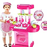#9: KP SALES Luxury battery operated kitchen play set pretend play set for kids with roll play kitchen set carry case, with LED lights & sound, Multi color