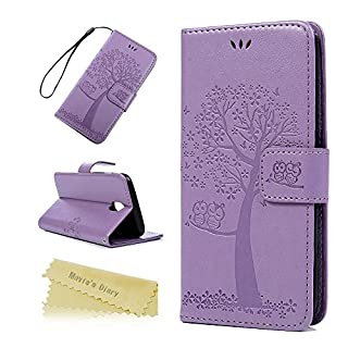 J5 2017 Case ,Galaxy J5 Case 2017 Mavis's Diary Wallet Case PU Leather Flip Cover Owl Couple Silicone Back Magnetic /Card Holders/Stand for Samsung Galaxy J5 2017 Violet