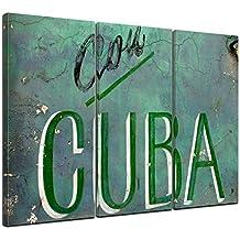 """Bilderdepot24 Cuadros en Lienzo """"Cuba"""" 150x90 cm 3 piezas - Enmarcado listo Bastidor imagen. directamente desde el fabricante"""