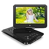 Tragbarer DVD Player Portable Fernseher mit 11,6 Zoll Monitor für Mama Kind Eltern Gerät mit HD Display IPS Bildschirm unterstützt MP4 MKV USB SD für Flug Urlaub Camping Zuhause Schwarz