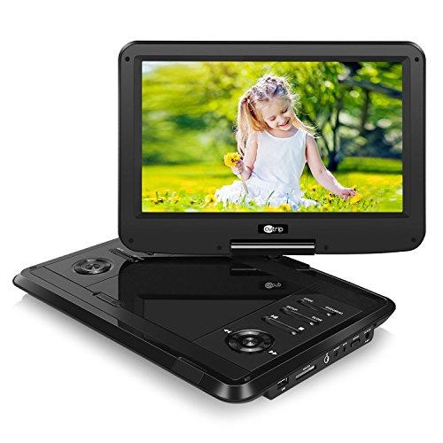 Tragbarer DVD Player Portable Spieler mit 11,6 Zoll Monitor für Mama Kind Eltern Gerät mit HD Display IPS Bildschirm unterstützt MP4 MKV USB SD für Flug Urlaub Camping Zuhause Schwarz