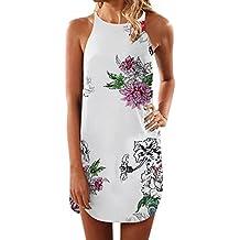 Vestiti Lungo Donna Elegante LandFox Sexy Mini abito estivo con stampa  floreale senza maniche a fiori be9456a6e6c