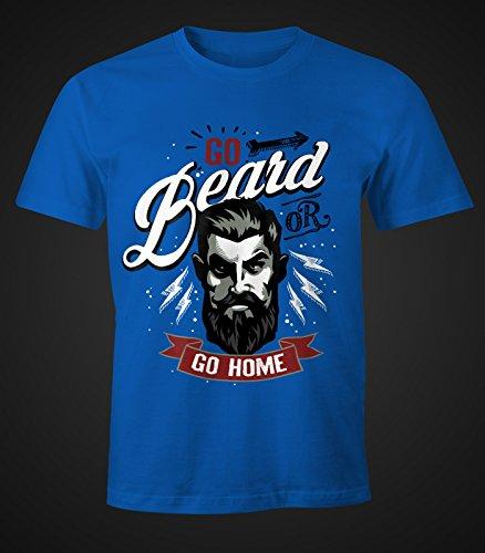 Herren T-Shirt - Go Beard or Go Home Bart Barber Shop Barbier Hipster Bartträger Mustache - Moonworks Royal
