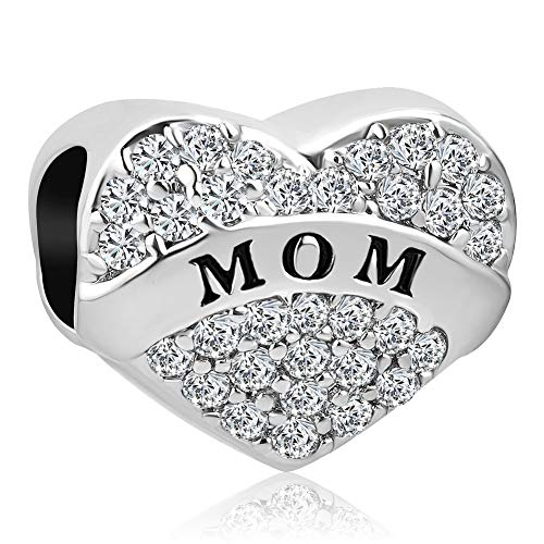 Uniqueen - ciondolo a forma di cuore con strass trasparenti, compatibile con braccialetti e collane e rame, cod. dpc_my909_x04