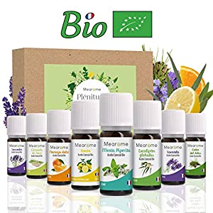 Aceites Esenciales para Humificador, Aromaterapia, 100% Naturales, Bio, Set de Aceites Esenciales, Menta, Lavanda, Eucalipto, Cedro de Atlas, Citronela, Naranja, Limón, Fabricado Francia, Mearome