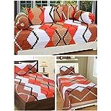 ZAIN Cotton Combo Bedsheet Set (1 Double Bedsheet With 2 Pillow Cover) 1 Single Bedsheet With 1 Pillow Cover(1 Diwan Set :-1 Single Bedsheet, 2 Bolster Covers, 5 Cushion Covers)