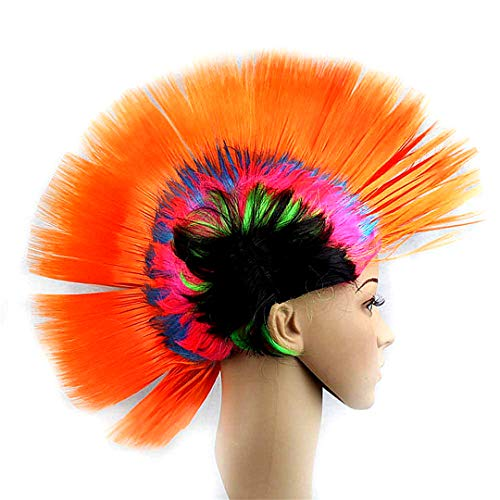 Snner Lustige Cockscomb Perücken Halloween-Weihnachtsfest-Kostüm verkleiden Kopfschmuck Mohawk Hahnenkamm Hair (Regenbogen-orange) (Mohawk Halloween Kostüme)