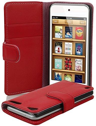 Apple iPod TOUCH 5 Hülle in ROT von Cadorabo - Handyhülle mit Kartenfach für iPod TOUCH 5 Case Cover Schutzhülle Etui Tasche Book Klapp Style in INFERNO ROT (Ipod Touch 4 Case Ständer)