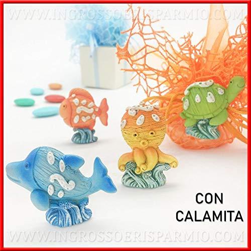Ingrosso e risparmio 12 magneti a forma di simpatici animaletti marini in resina colorata, pensierini, bomboniere tema mare compleanno bambino/bambina (con confezione arancione)