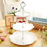 #6: Generic 2 tier gold : 3 or 2 Tier Cake Plate Stand Handle Crown Fitting Metal Birthday Wedding Party Silver/Golden (plates are not included)