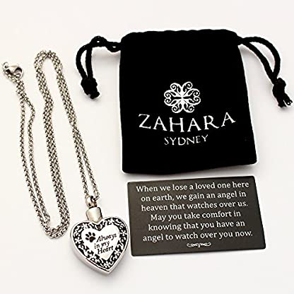 Zahara Pet Memorial Urn Necklace (20 Inches) with Velvet Pouch & Funnel | Always in My Heart Paw Pendant + Chain 5