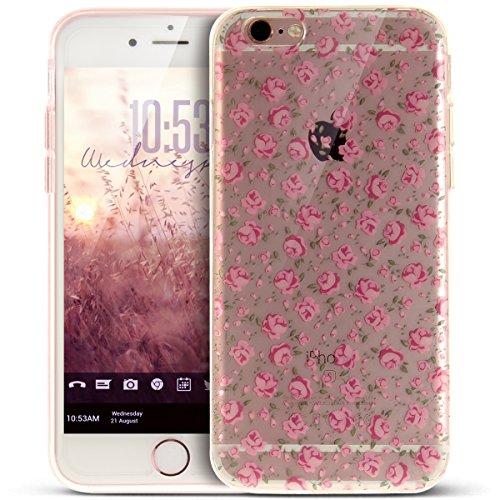 Coque iPhone 6S,Étui iPhone 6,iPhone 6S/iPhone 6 Case,ikasus® Coque iPhone 6S/iPhone 6 Silicone Étui Housse [Conception IMD et cadre en silicone TPU] Téléphone Couverture TPU Ultra Mince Premium Semi  Floral rose