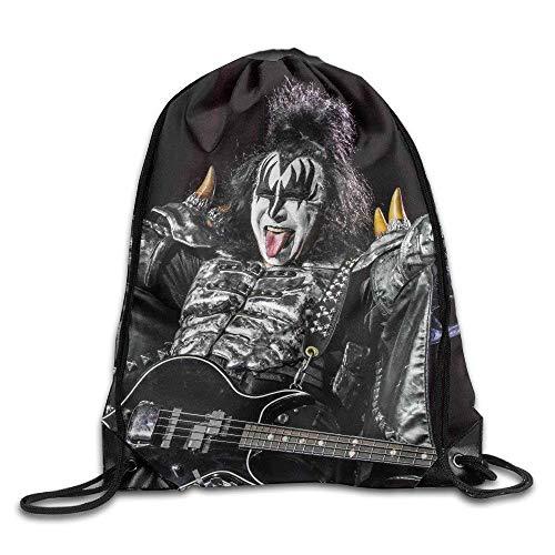 DHNKW Kiss Band Portable Sack Bag, Drawstring Backpack, Sport Bag, Drawstring Bag for Men Women, Sport, Travel, Home, Gym, Outdoor, Activity (Kiss Band Halloween)