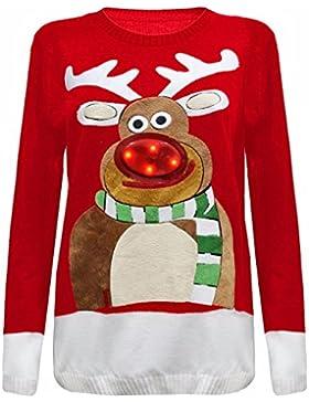 Janisramone Damen Herren Neue Unisex Männer Weihnachtsbaum Aufhellen Rudolph Neuheit LED Pullover Pullover