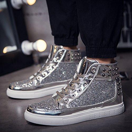 SITAILE Hiver paillette Lacet Mode Plats Cheville Outdoor Chaussure Mode Bottes Classiques femme silver