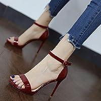 GaoXiao avec des diamants bruts et mode couleurs personnalisées haut trampoline sandales haut chaussure,noir - rouge -