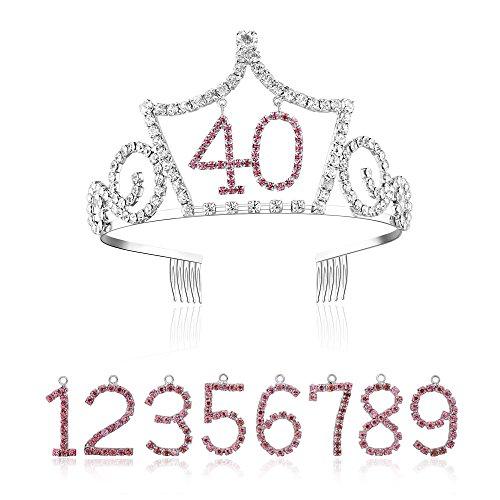 BABEYOND Damen Geburtstagskrone mit austauschbaren Alters Zahlen Blinkende Kristall Diadem Prinzessin Geburtstag Tiara (Krone mit austauschbaren Zahlen 0-9)