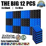 Super Dash SD1034 Pyramidenförmige Akustikschaumstoffe, 12 Stück, 25 x 25 x 5 cm, blau/schwarz, 25 x 25 x 5 cm