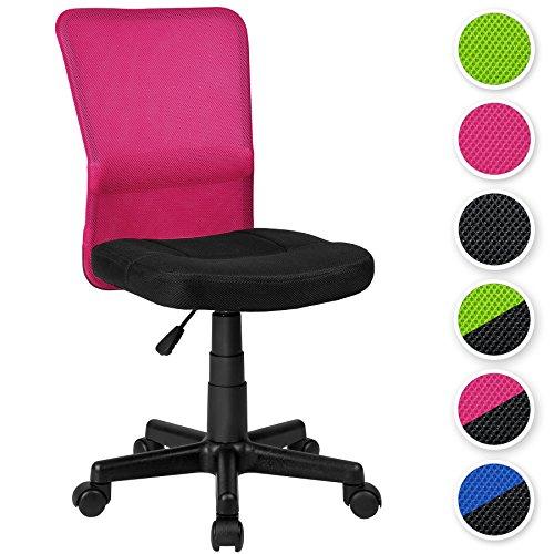 TecTake-Chaise-de-bureau-diverses-couleurs-au-choix-Noir-Rose-no-401797