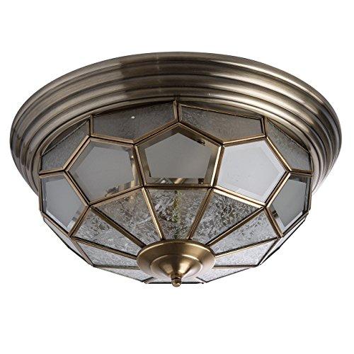 6 Tiffany Deckenleuchte (Deckenleuchte Deckenlampe Messing mattes Glas Tiffany Landhausstil Ø46cm 6-flammig exkl. E14 6x40W 230V)