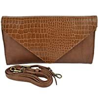 Ladies Soft LEATHER Envelope Clutch HANDBAG by GiGi Versitile Classic Croc (Mid-Brown)