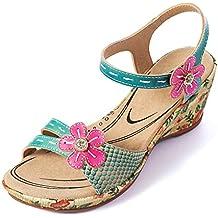 gracosy Sandalias Cuero Verano Mujer Estilo Bohemia Zapatos de Tacón Medio para Mujer de Dedo Cuña