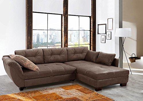 Ecksofa, Sofa, Couch, Antiklederoptik, Antik, Microfaserstoff, Hochschläferfunktion, Ziersteppung, Polyätherschaum, Nosagunterfederung, Braun