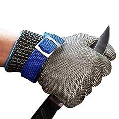 Idea Regalo - ConPush Guanti Antitaglio Acciaio Inox Rete Metallica Guanto per cucina e macellai e pesca, misura M