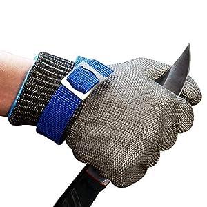 ConPush Guantes Anticorte Seguridad Corte Prueba puñalada Resistente Acero Inoxidable de Malla metálica Carnicero Guante de Color Azul Talla M Nivel 5