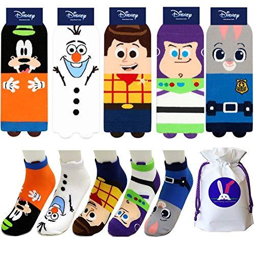 Disney Animation Charakter Knöchel Socken mit Beutel Packung mit 5 Paaren - Goofy, Toy Story Woody, Frozen Olaf, Toy Story Buzz Lightyear, Zootopia Judy Hopps Sneakersocken (Story Paare Toy)