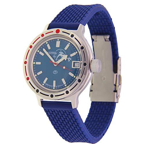 Vostok Amphibian #420059 - Orologio da polso subacqueo automatico Scuba Dude, colore blu navy