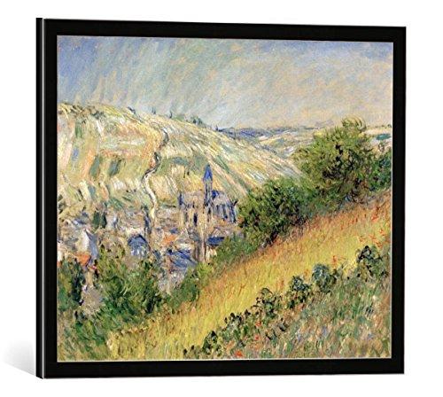 kunst für alle Bild mit Bilder-Rahmen: Claude Monet Vue de Vetheuil Ansicht von Vetheuil sur Seine - dekorativer Kunstdruck, hochwertig gerahmt, 50x40 cm, Schwarz/Kante grau