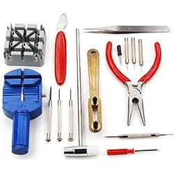 TRIXES 16 Piece Watch Repair Kit Set & Wrist Strap Adjust Pin Tool Kit Back Remover Fix