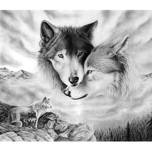 Lhyxh 5d Diamant Stickerei Tier kreuzstich voller Kreis DIY Diamant malerei Wolf mosaik Bild Puzzle (Promi-bilder)