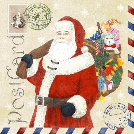 60 Servietten Weihnachten Santa Postcard Postkarte vom Weihnachtsmann 33 x 33 cm Lunch Servietten Napkins Tissues 3-lagig (Weihnachtsmann Postkarten)