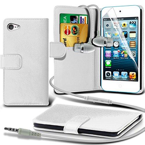( White ) Apple iPod Touch 5 elegante PU Portafoglio in pelle della copertura di vibrazione della cassa della pelle Con Schermo LCD & Aluminium In Auricolare Stereo Mani libero cuffia auricolare cuffie con microfono incorporato Mic & On-Off Button By Spyrox