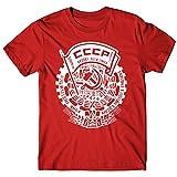 LaMAGLIERIA T-Shirt Uomo CCCP Fedeli alla Linea Cod02 - Maglietta Punk Rock 100% Cotone, XL, Rosso